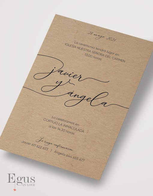 Invitaciones de boda en papel kraft egus in love