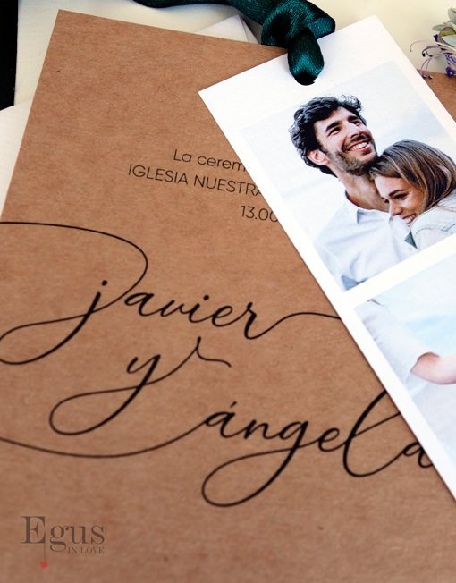 invitaciones boda con fotos kraft egus in love
