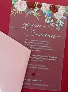 Invitaciones transparentes flores egus in love
