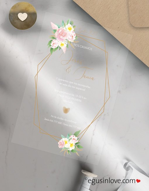invitaciones transparentes con rosas egus in love